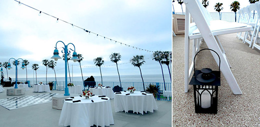 Wedding reception setup at La Jolla Cove Suites.