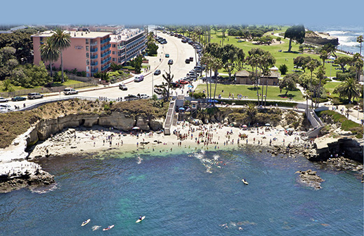 Birds eye view of La Jolla Cove Suites.