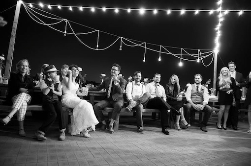 Black and white photo of a wedding reception at The Garty Pavilion.