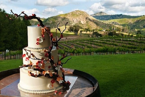 Wedding cake sitting on a table on a grassy field by Luxe Events.