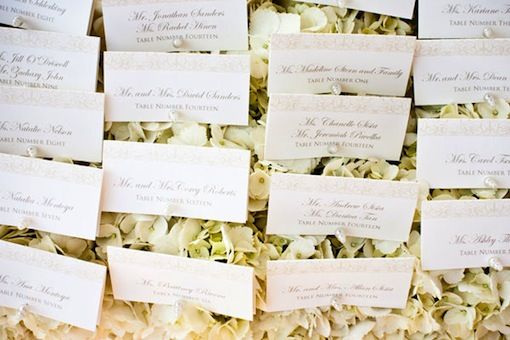 Place cards at a wedding designed by Luxe Events.
