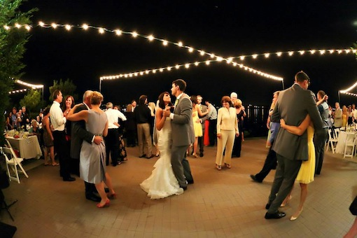 Nighttime dancing at this wedding reception at The Garty Pavilion.
