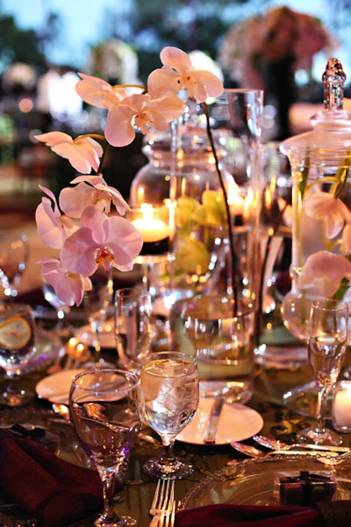 Floral arrangements at a San Diego wedding reception by Luxe Events.