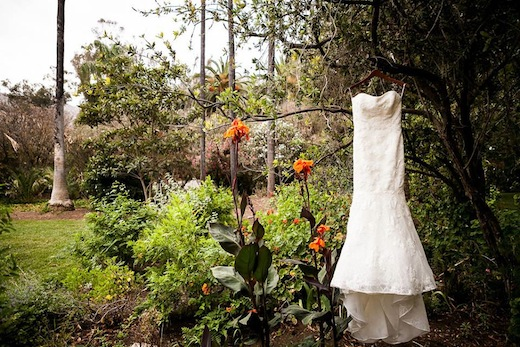 Bridal gown in an outdoor garden by Events Inspired San Diego.