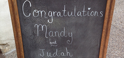 Chalk board with wedding info. Attending a wedding soon? Read up on our essential gift giving guide!