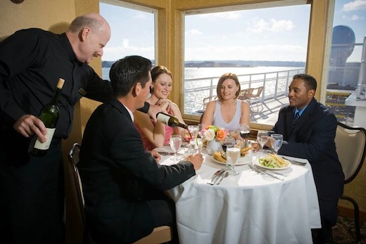 People dining on the Hornblower Cruises & Events boat.