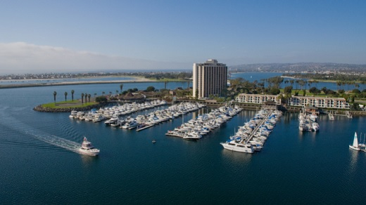 Birds eye view over the ocean of the Hyatt Regency Mission Bay Spa & Marina.