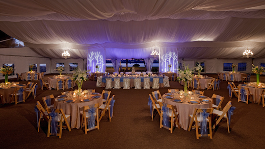 A view of a wedding reception at the Hyatt Regency Mission Bay Spa & Marina.