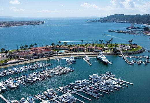 Birds eye view of the Marina near the Kona Kai Resort & Marina.