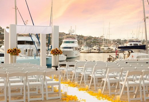 Wedding ceremony at Kona Kai Resort & Marina.