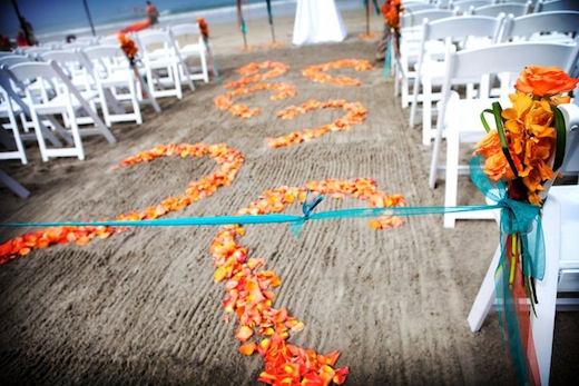 Aisle of a wedding ceremony on the beach at the La Jolla Shores Hotel.