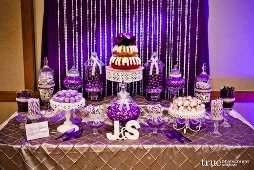 Wedding Cake and purple theme at this wedding at The Westin San Diego.