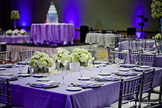 The Westin San Diego table settings with purple and violet linens.
