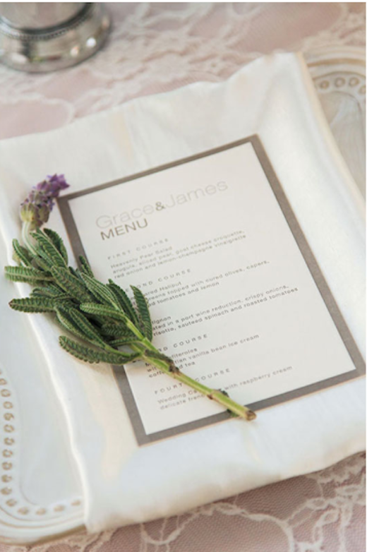 A dinner menu at a wedding reception designed by Silhouette Event Planning and Design.