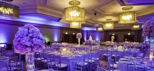 Purple themed wedding reception at The Westin San Diego.