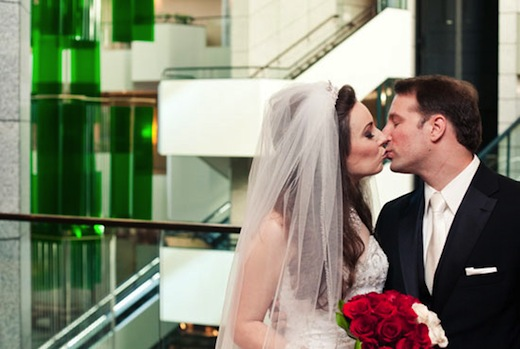 Bride and Groom kissing at the Westin San Diego.