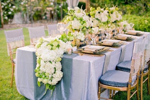 Table setting by Brilliant Event Design at a San Diego wedding reception.
