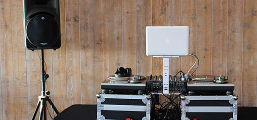 A clean mobile disc jockey set. Read up on SGM Events 10 steps to hire a DJ.