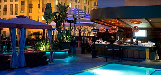 Poolside lounge at the Hotel Solamar.