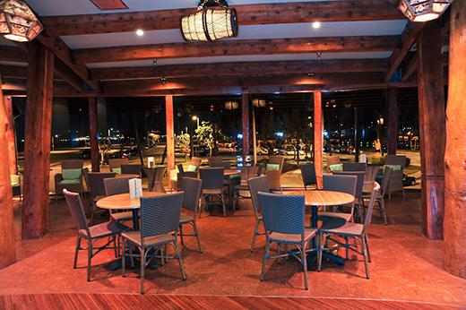 Dining room seating at Bali Hai Restaurant.