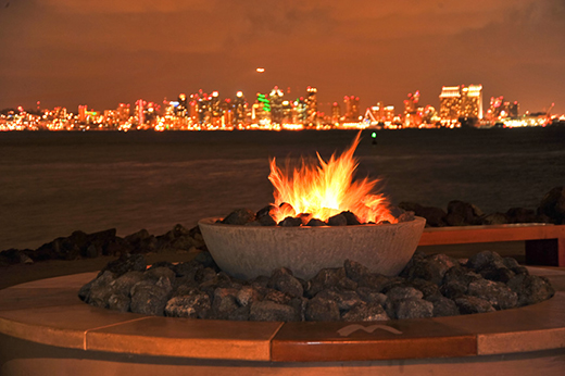 The fire pit over looking downtown San Diego at Bali Hai Restaurant.