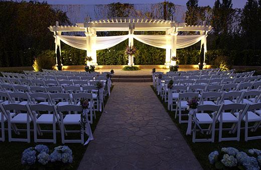 Evening wedding ceremony setup at the Handlery Hotel San Diego.