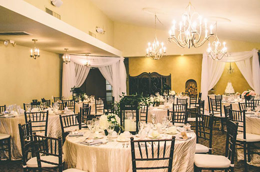 Ballroom at El Camino Country Club set for an event