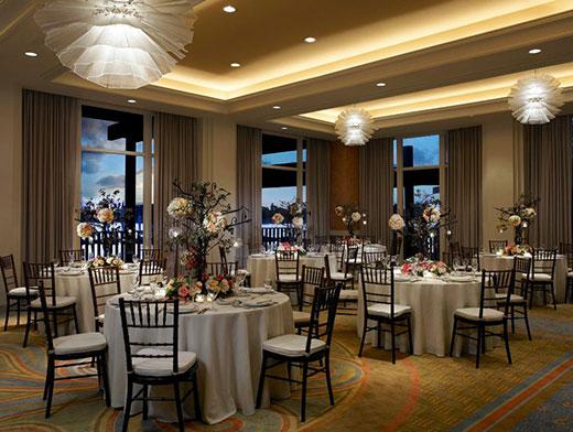 Ballroom set for dinner