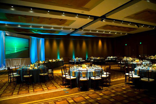 A ballroom at the Omni Hotel San Diego set for a private event
