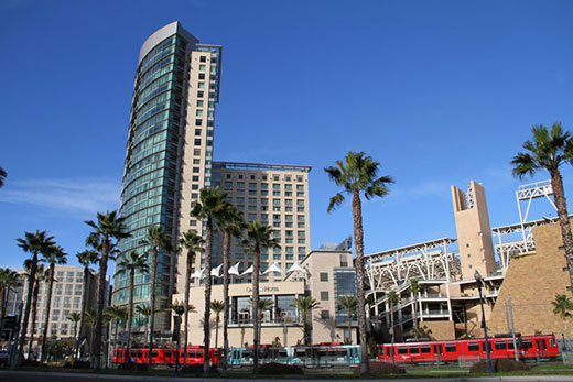 A daytime outside view of the Omni Hotel San Diego