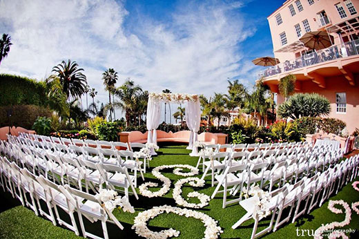 Straight view of La Valencia's wedding ceremony setup