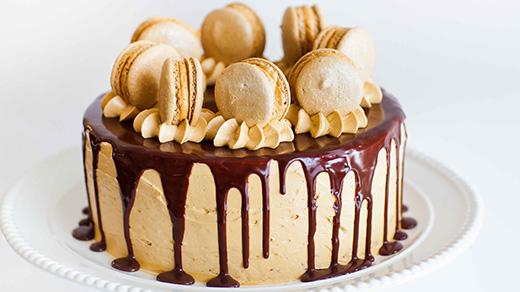 Mocha Salted Caramel Cake on Plate