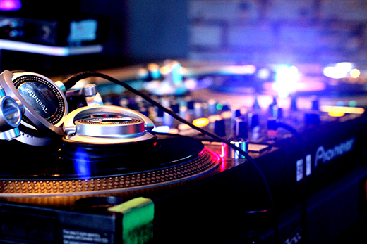 DJ Turntables Close Up