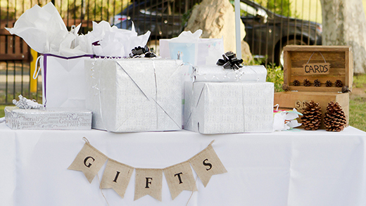 Wedding gifts wrapped on a table