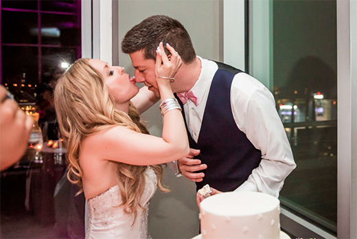 Bride Eats Cake Off of Groom's Nose