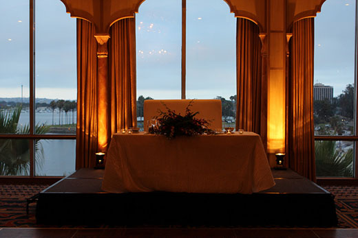 Honeymoon Table With Background Lights